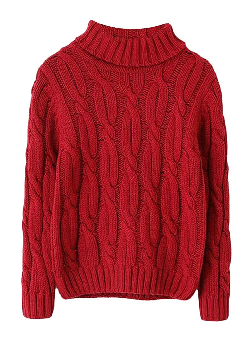 Cromoncent Boys Autumn Winter Thick Warm Turtleneck Pullover Knit Sweater