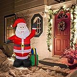 SEASONBLOW 8 Foot Inflatable Portable Christmas Santa Claus Xmas Indoor Outdoor Lawn Yard Decoration Place Box Beside Foot