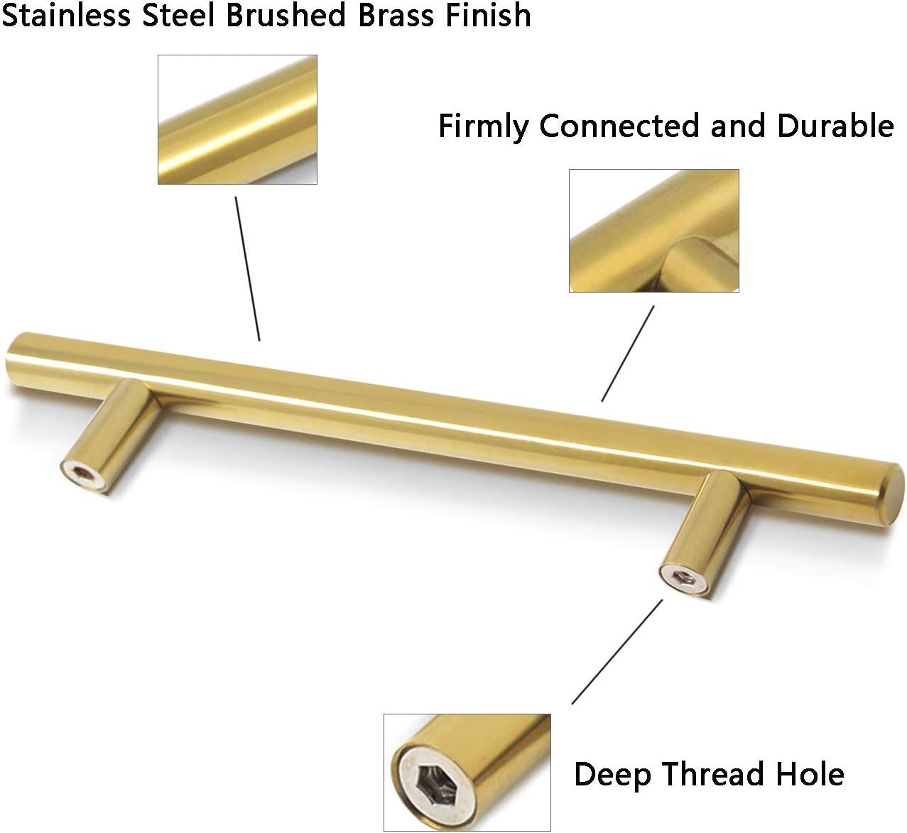 PinLin dorado lat/ón dorado, acero inoxidable, incluye tornillos Tiradores de puerta de cocina