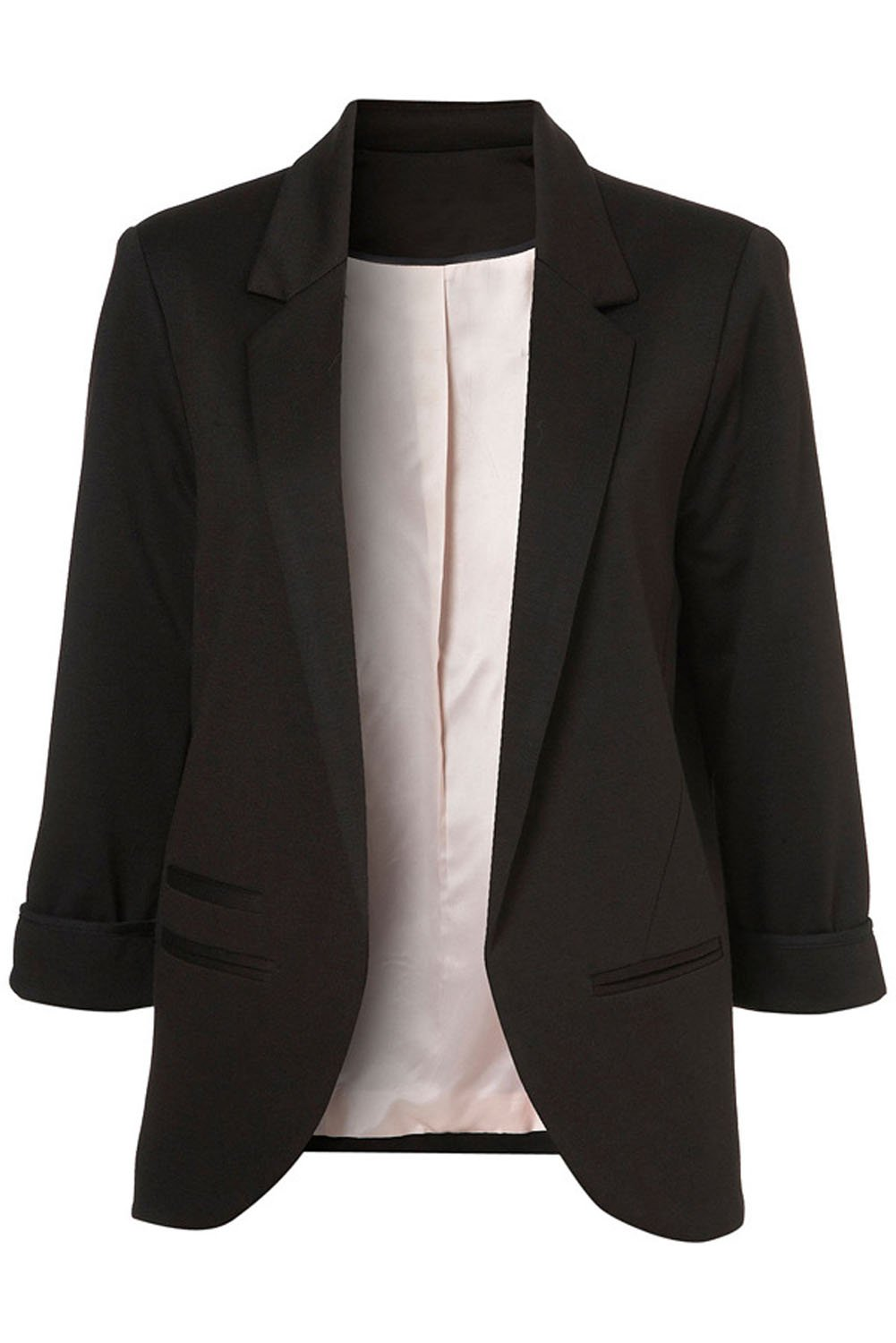 Merryway Women's Fashion Cotton Rolled up 3/4 Sleeve Slim Office No-Buckle Blazer Jacket Suits(Black)