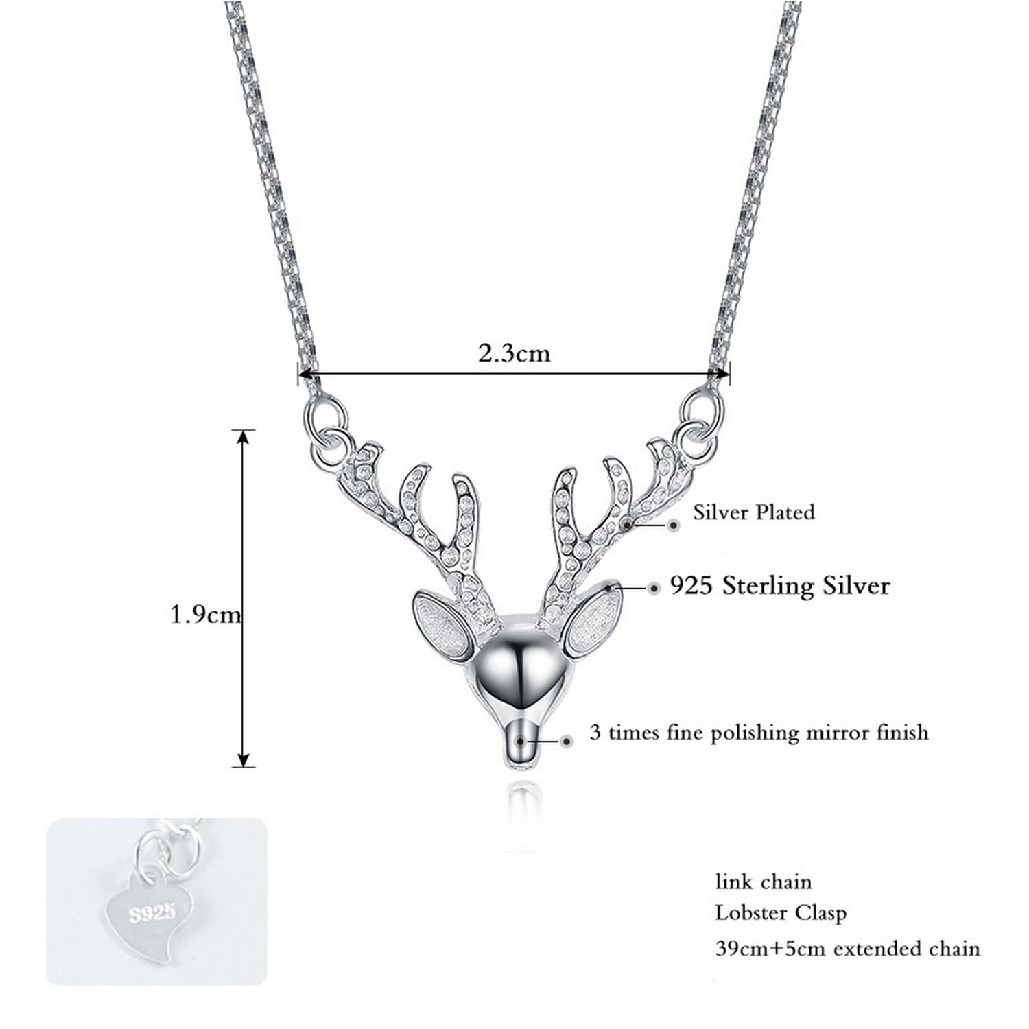 CS-DB Jewelry Silver Animal Necklace Colar Deer Chain Charm Pendants Necklaces