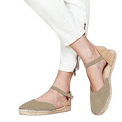 e634ac10e1cfb LAICIGO Womens Ankle Strap Buckle Espadrilles Shoes Cut Out Closed Toe  Flatform D'Orsay Shoes