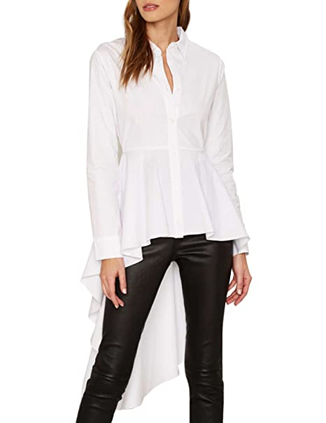 Haoduoyi Womens Chic Swallow Tailed Long Sleeve High Low Ruffle Top Shirt (S,White