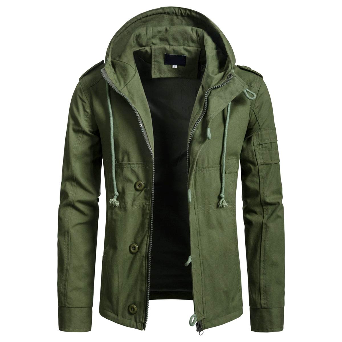 AOWOFS Men's Casual Hooded Jackets Cotton Fashion Windbreaker Outdoors Spring Zip Up Coat Green by AOWOFS