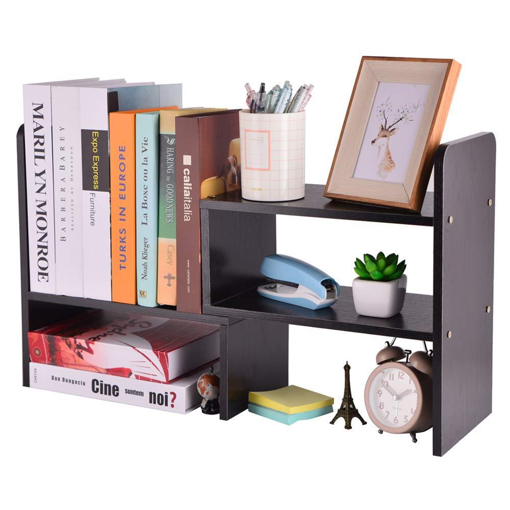 Adjustable Wood Desk Storage Organizer Desktop Arc Rounded Corner Display Shelf Rack Bookshelf Multipurpose Counter Top Bookcase for Office Accessories Kitchen Children Study Supplies (Black) by HOMEAMY