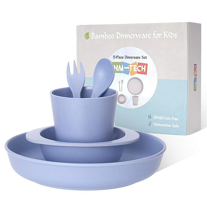 100/% Melamine Free- 100/% BPA Free Bamboo Kids dinnerware Set Eco Friendly FDA Approved- Dishwasher Safe Blue