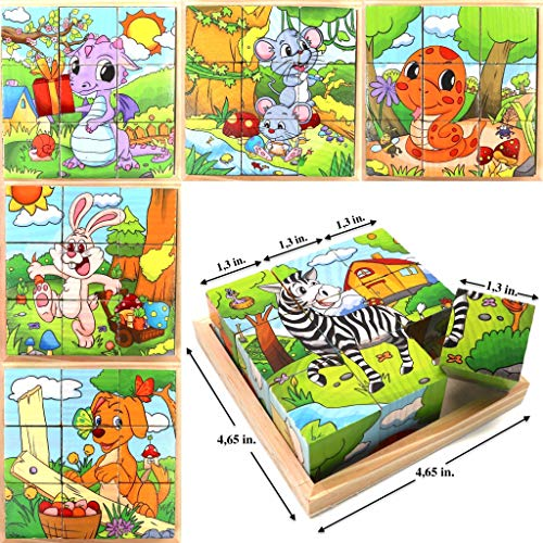 Wooden Cube 3D Puzzle - Animals | Wooden Cubes - 3D Puzzle (6 in 1) with Tray | Developing of Fine Motor Skills, Memory Toys for Kids | Learning Shape, Color and Sorting ()