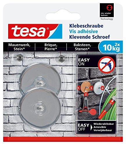 tesa Adhesive Screw for Masonry and Stone, Holding Capacity 10kg, Pack of 2, 77909-00000-00 ()