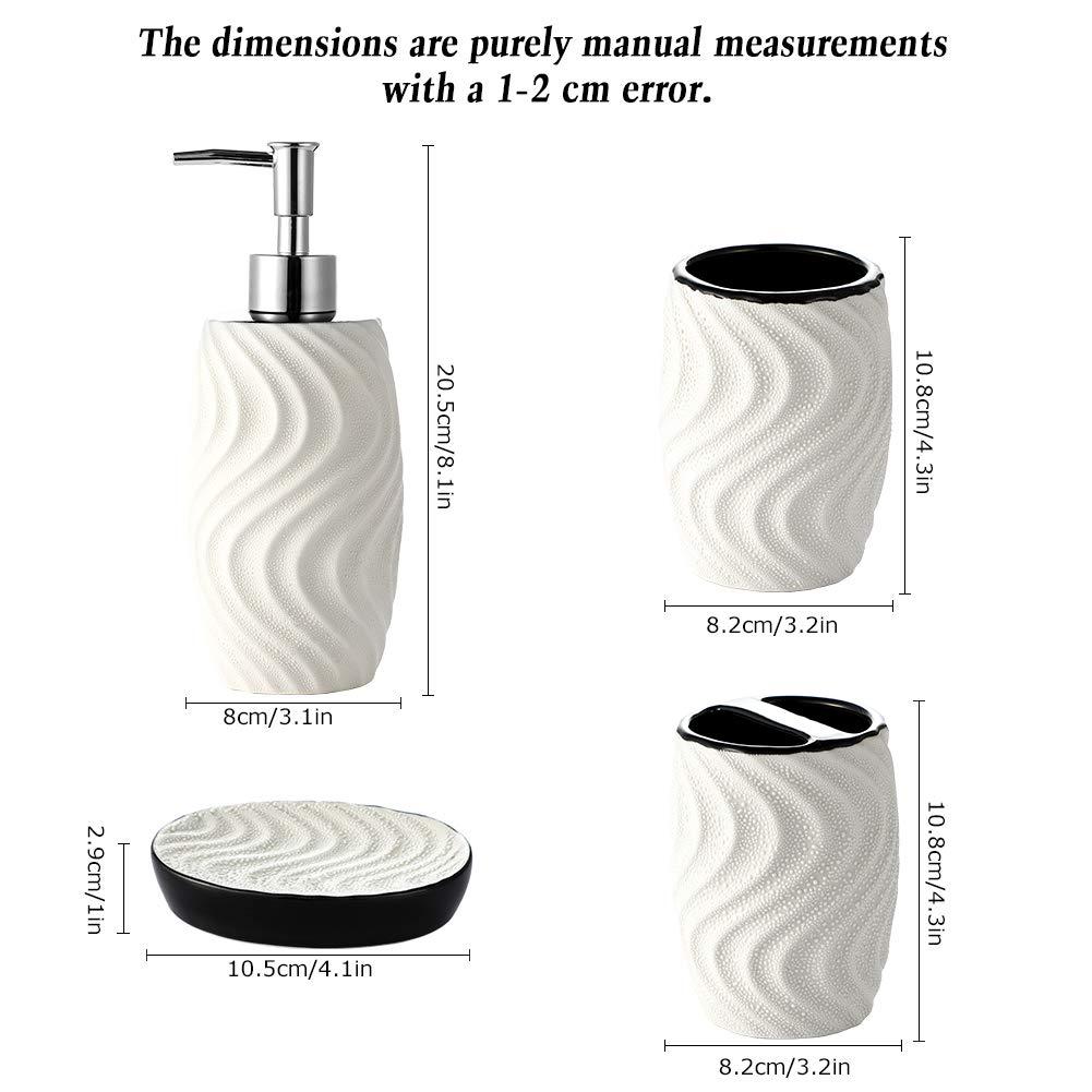 Striscia JOTOM Design Moderno Set di Accessori da Bagno Ceramica da 4 Pezzi Set di Accessori da Bagno di Lusso Set Bottiglia di Lozione da Bagno Tazza Spazzolino Portasapone Coppa del Dente