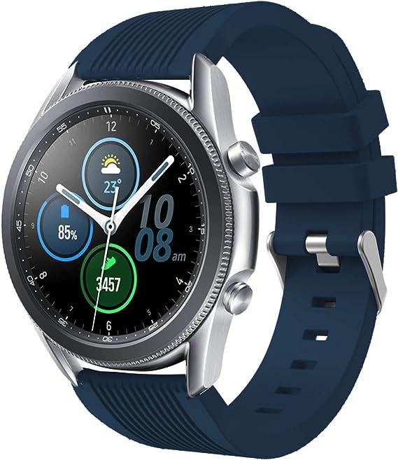 Imagen deSPGUARD Correa Compatible con Correa Samsung Galaxy Watch 3 45mm,Pulsera de Repuesto Deportiva de Silicona Suave para Samsung Galaxy Watch 3 45mm(Azul)