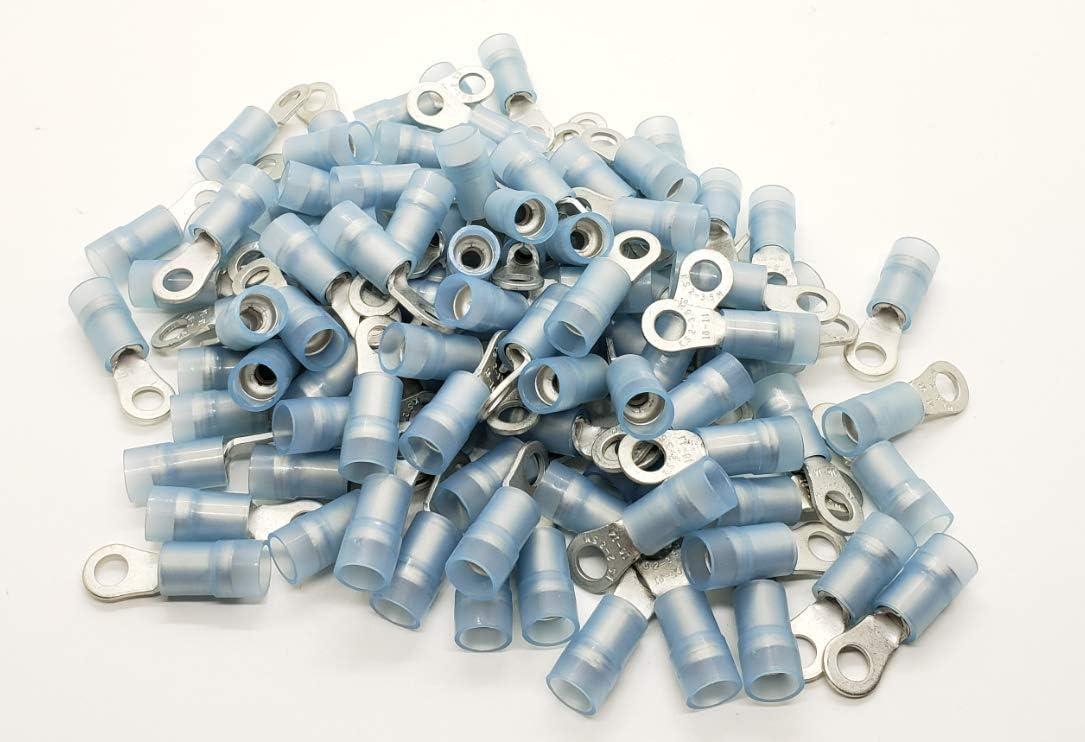 Qualitech Blue 16-14GA AWG Nylon Insulated Double Crimp Ring Terminals