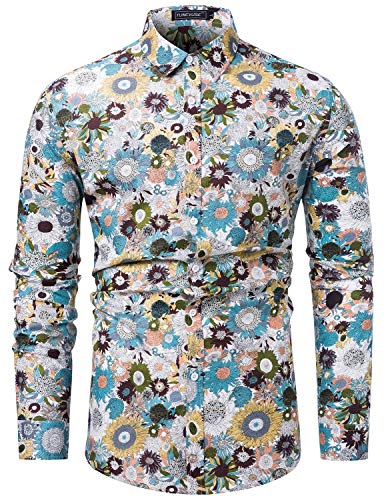 (TUNEVUSE Men Floral Dress Shirts Long Sleeve Casual Button Down Shirts 100% Cotton White Floral X-Large)