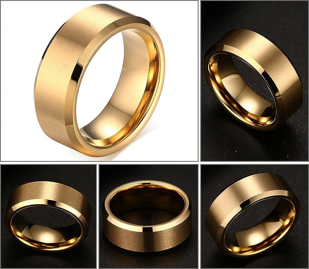 8 mm negro carburo de tungsteno anillos de boda banda para hombres mate acabado pulido borde biselado confort Fit: Amazon.es: Joyería