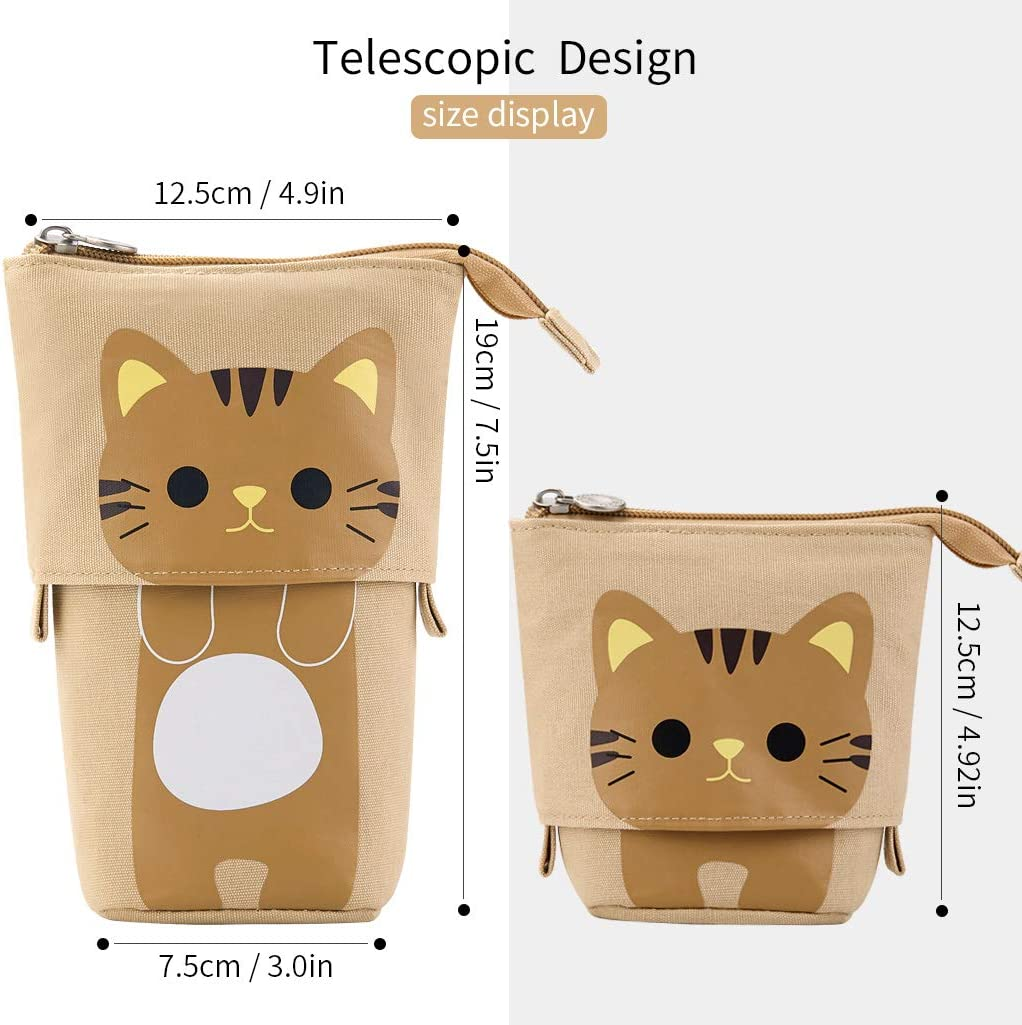 EASTHILL Cartoon Cute Cat Pencil Pouch Canvas Pen Bag Standing Stationery Case Holder Box for Student Girl Boy Adult Blue