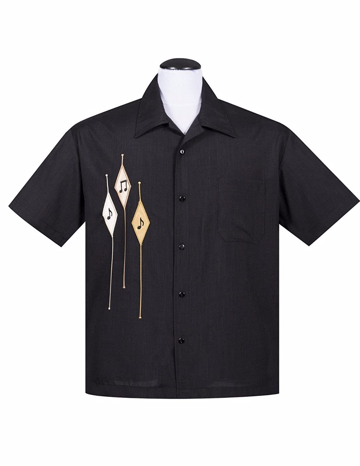 Steady Diamond Note Button Up in Black Men's Shirt Retro Inspired