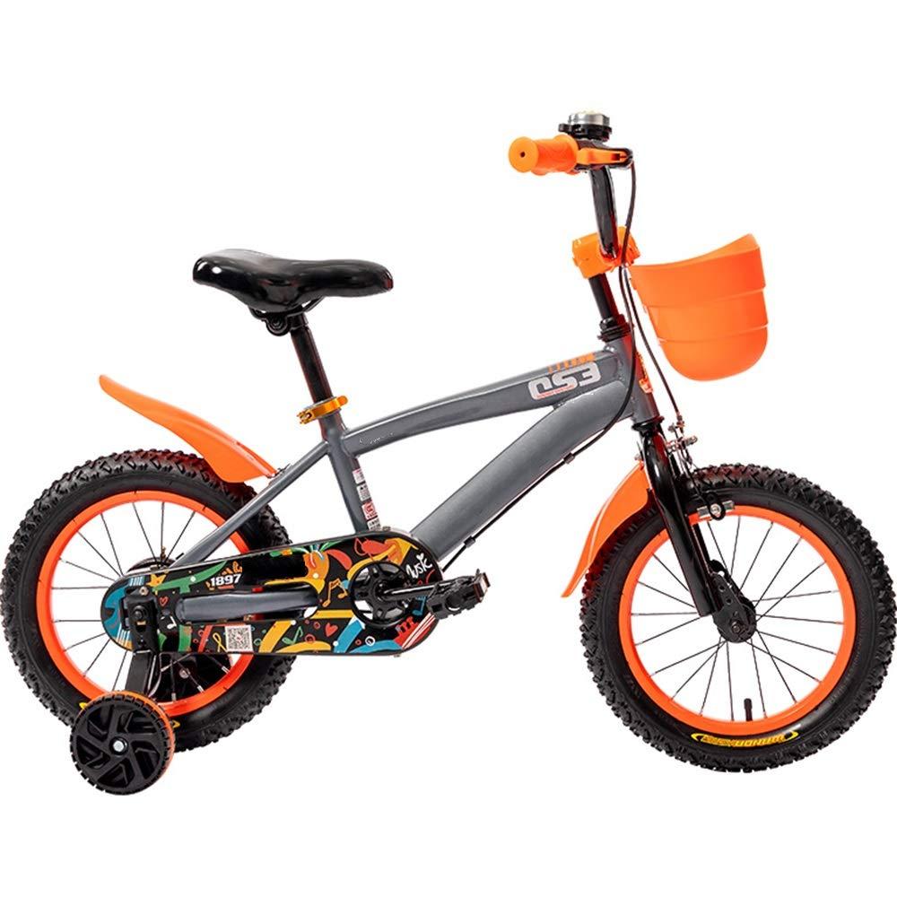 Axdwfd 子ども用自転車 キッズバイク、子供用自転車12/14/16/18インチの男の子と女の子のサイクリング、29歳の子供に最適黄色、赤、オレンジ 16in Orange B07PCRWJ5S