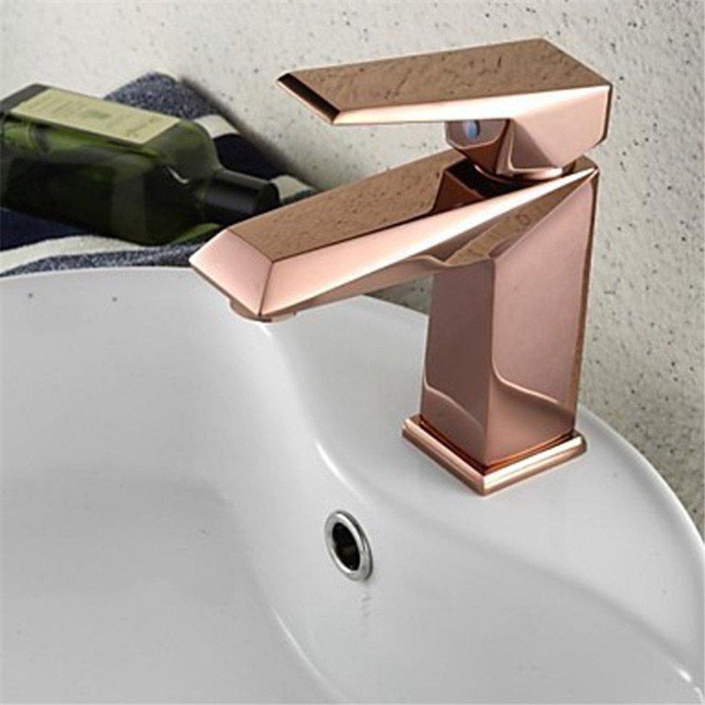 MMYNL TAPS MMYNL Waschtischarmatur Bad Mischbatterie Badarmatur Waschbecken Antique Rosa Gold-Copper Kaltes Wasser Niedrig, einseitiger Griff Badezimmer Waschtischmischer
