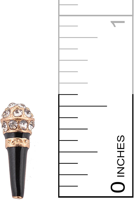 Tiny Crystal Karaoke Microphone Earrings silver-plated-base