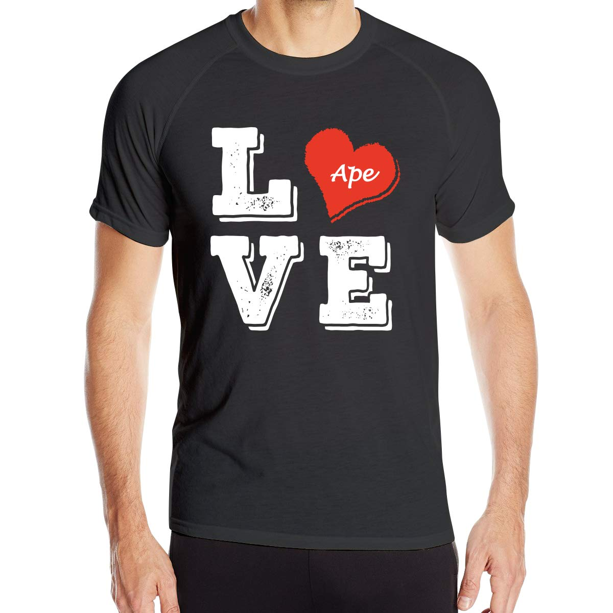 Mens Love Heart with Animal Ape Quick Dry Athletic Shirts Short Sleeve Dry-Fit Casual Tee