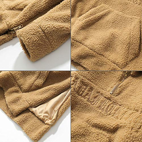 Automne À shirt Homme Manteau Bmeigo Sherpa Hiver Pull Kaki Loose Hoodie Over Sweat YX8OwX