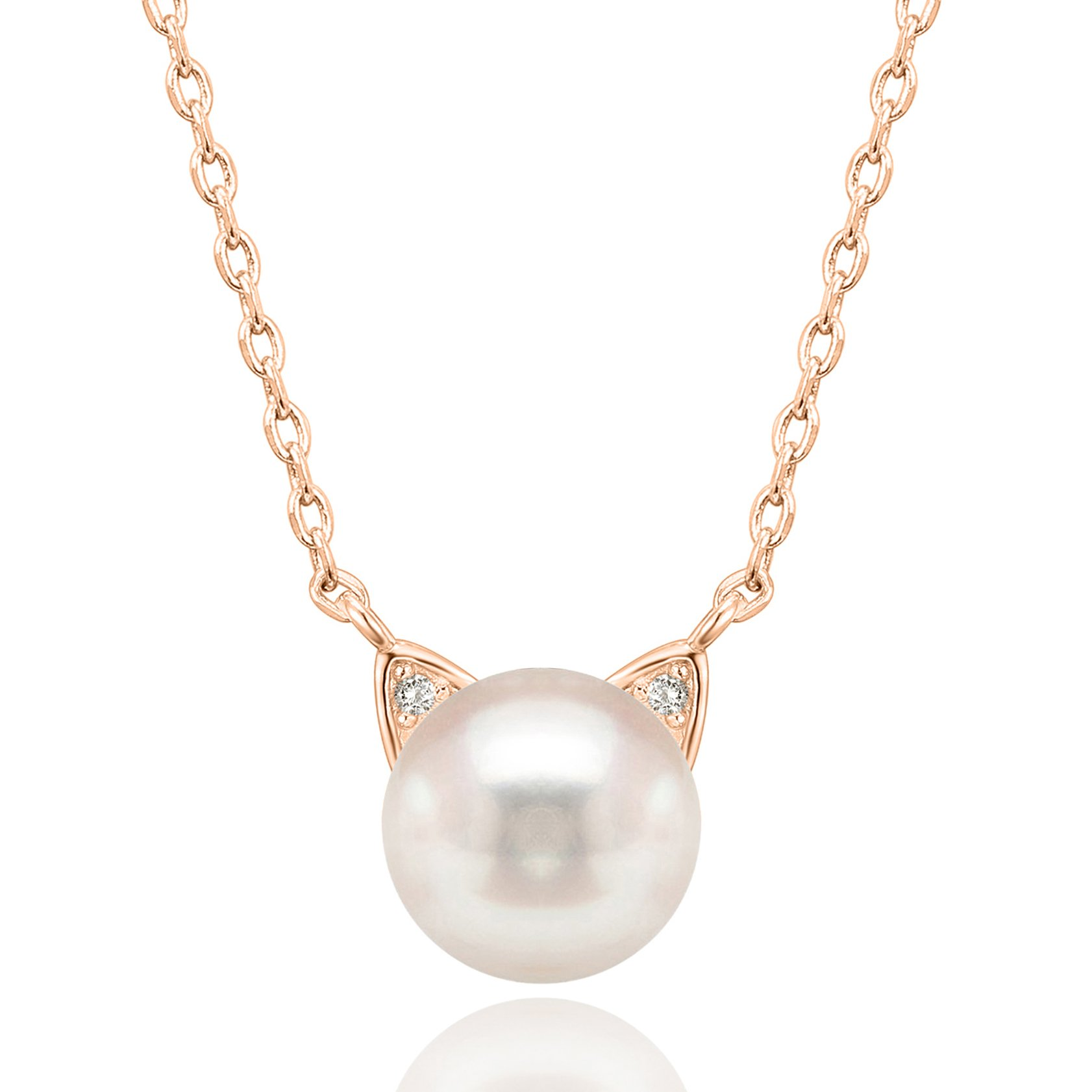 PAVOI Handpicked AAA+ Cat Ear Freshwater Cultured Pearl Necklace Pendant - Rose by PAVOI