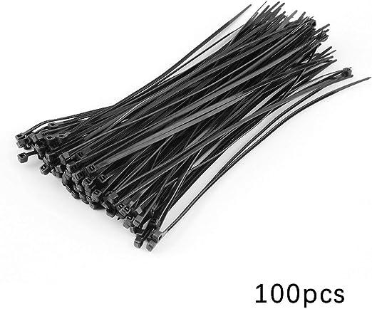 Greatangle 100pcs Pr/áctico 2.2 X 150mm Nylon Bridas de pl/ástico Organizador de cremallera Sujetar el paquete de correa de cable de envoltura de alambre Negro Negro
