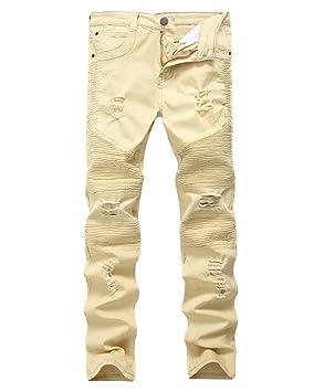 Yonglan Hombres Slim Fit Pantalones Vaqueros Destruido ...