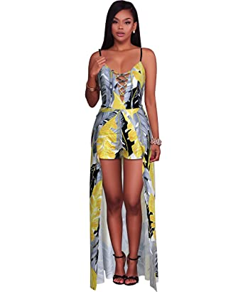 c77074d40e7 Amazon.com  Felicity Young Women s Spaghetti Strap Lace Up Front Maxi Dress  Overlay Rompers Jumpsuit Feather Print Yellow Grey