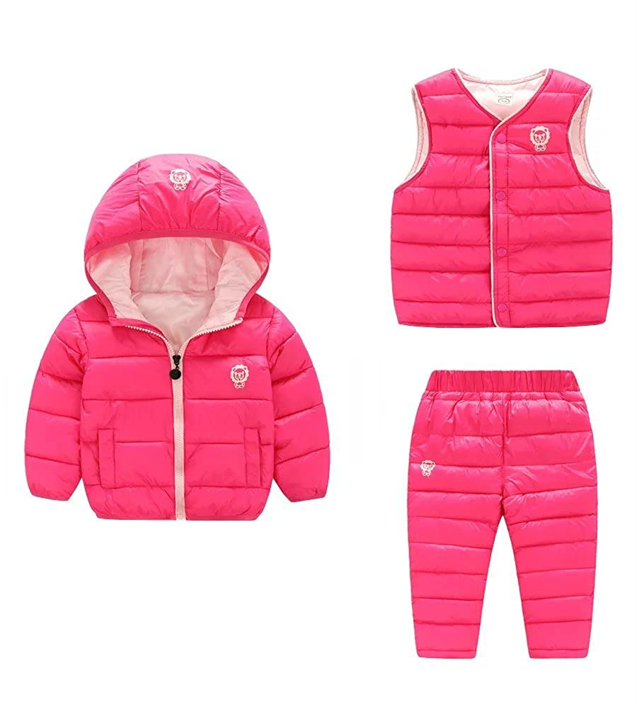 Wxian Unisex Children Warm Down Coat Puffer Jacket Three-Piece