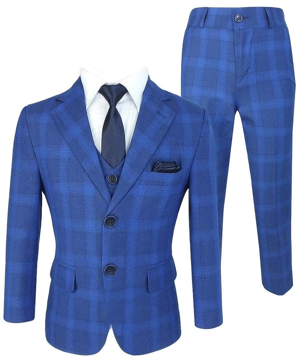 fcc422fea7b3 SIRRI Flamingo Abito Cerimonia Formale a Scacchi Blu per Ragazzi   Amazon.it  Abbigliamento