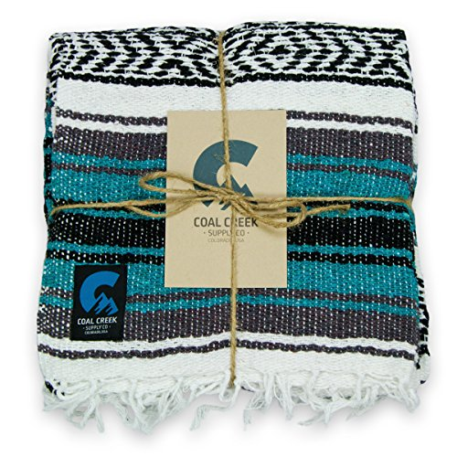 Coal Creek Supply Classic Mexican Blanket, Authentic Falsa Soft Woven Adventure Blanket (Teal)