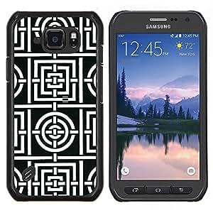 Stuss Case / Funda Carcasa protectora - Motif de lignes blanches Carreaux Forme - Samsung Galaxy S6 Active G890A