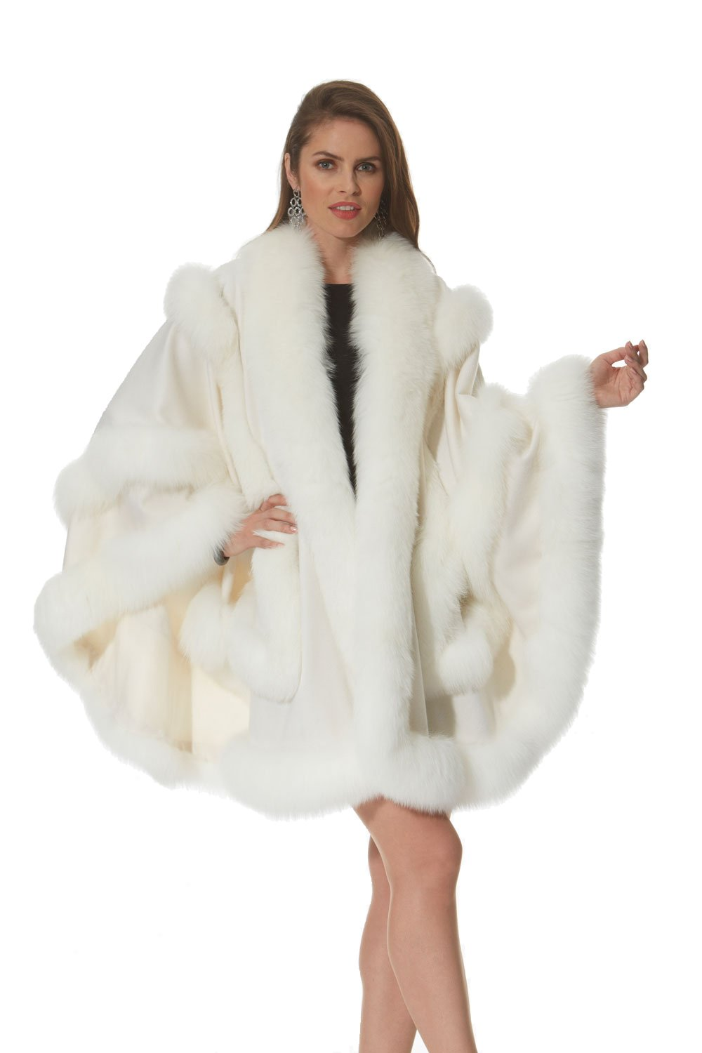Madison Avenue Mall Winter White Cashmere Cape for Women Fox Trim Empress Style by Madison Avenue Mall
