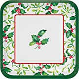 Club Pack of 96 White, Green Holy Berries Printed Square Dinner Plates 9.2''