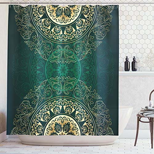 (Lunarable Hunter Green Shower Curtain by, Retro Oriental Mandala Style Floral Circle Antique Arabesque Culture Swirls Pattern, Fabric Bathroom Decor Set with Hooks, 75 Inches Long, Gold)