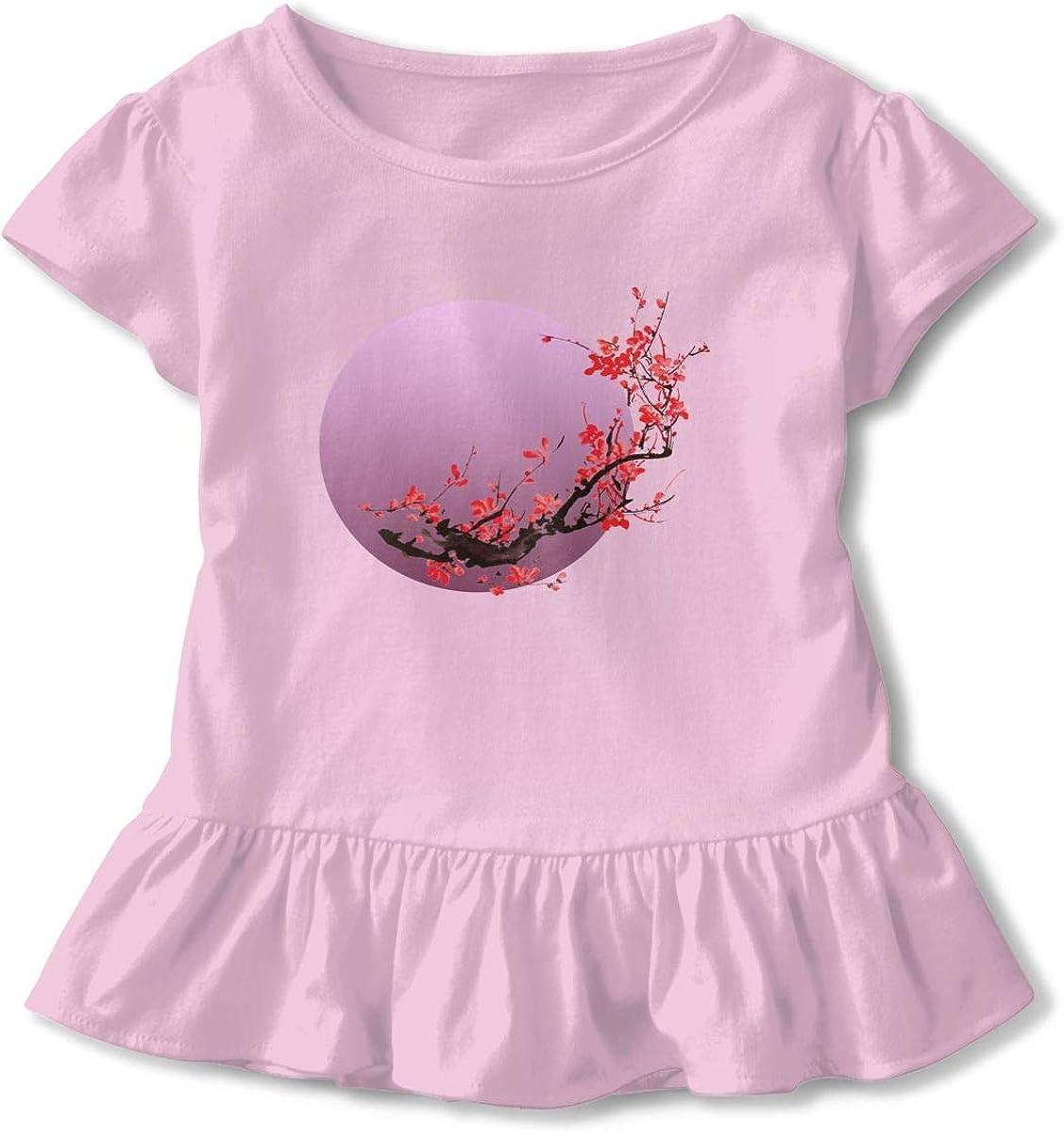 Moon Sakura Flowers Japanese Cherry Toddler Girls T Shirt Kids Cotton Short Sleeve Ruffle Tee