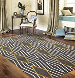 Rugshop Contemporary Diamond Stripe Area Rug, 3'3″ x 5'3″, Yellow/Gray