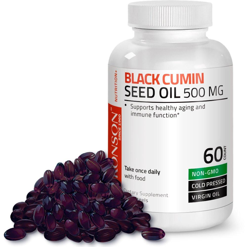 Bronson Black Cumin Seed Oil 500 mg Premium Non-GMO Cold Pressed Formula, 60 Softgels