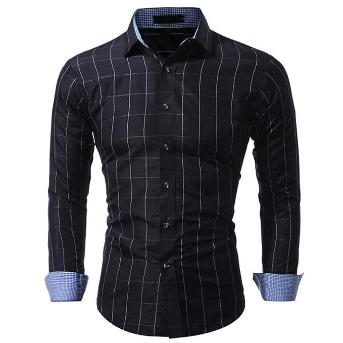 Camisetas de hombre del manga larga de corte slim para hombres Plaid de otoño de manga larga con cuello en forma de botón del cuello sudaderas de los ...