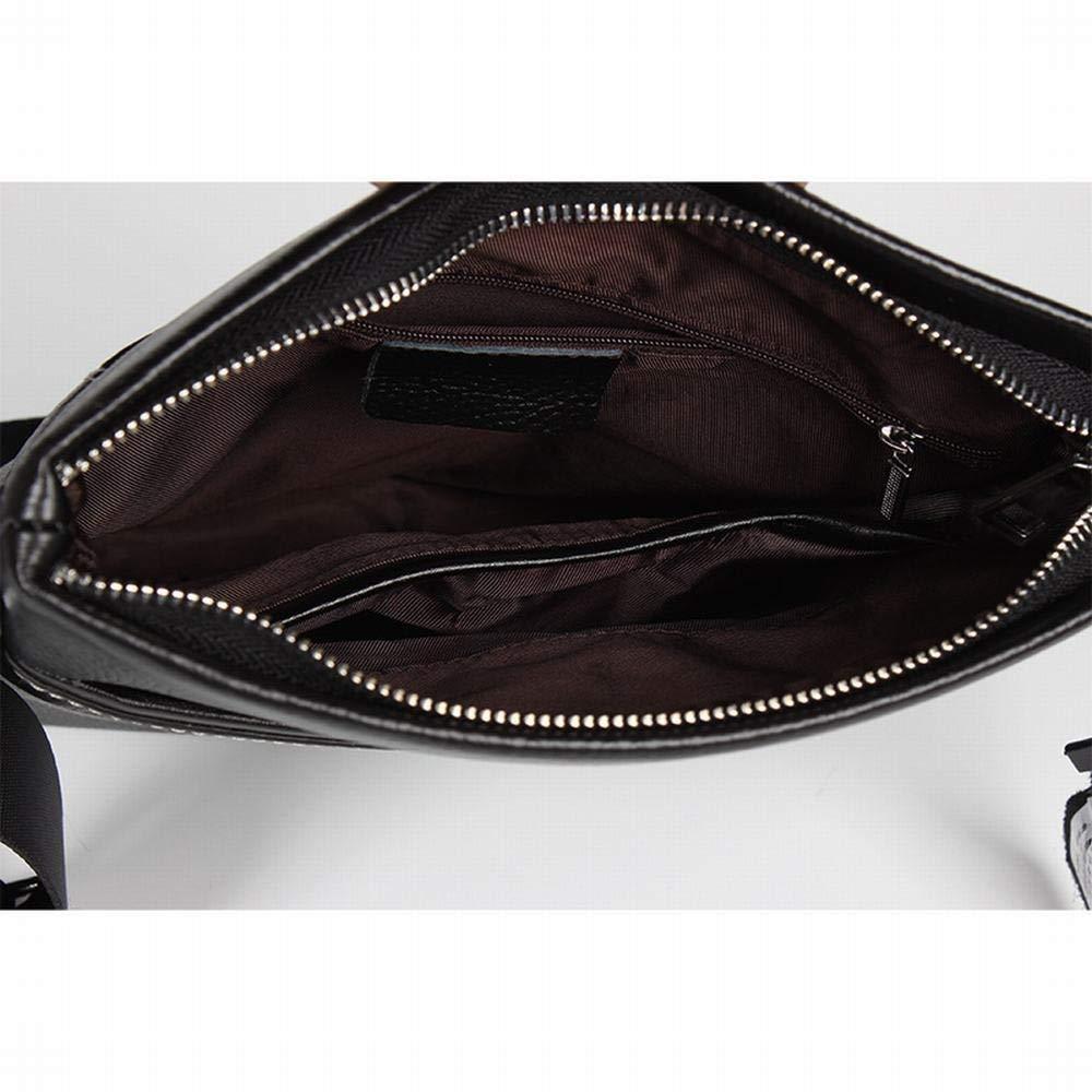 Lokijuge Leather Mens Shoulder Bag Casual Messenger Bag Black Small Bag Top Layer Cowhide Color : Black