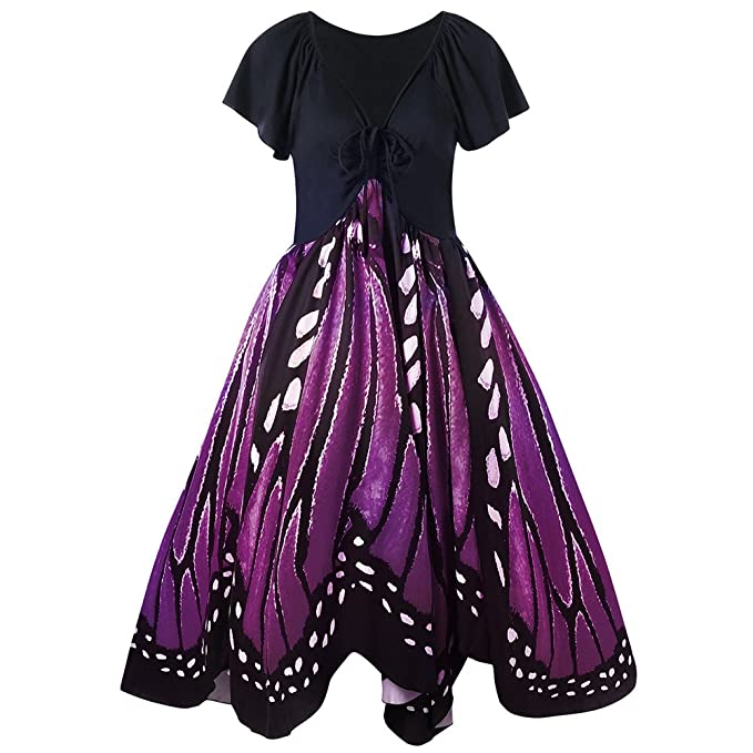 Gamiss Women S Vintage Butterfly Print Short Sleeves A Line Plus