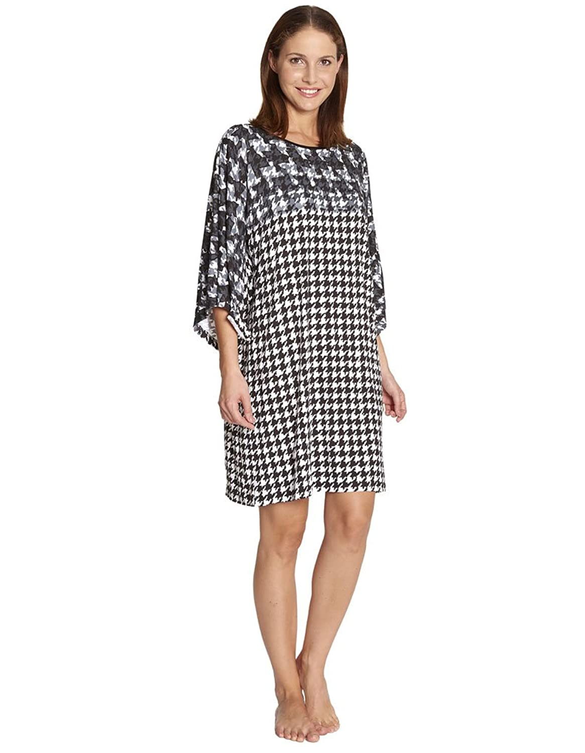 Feraud 3175068-10176 Women's Black and White Houndstooth Cover Up Beach Dress