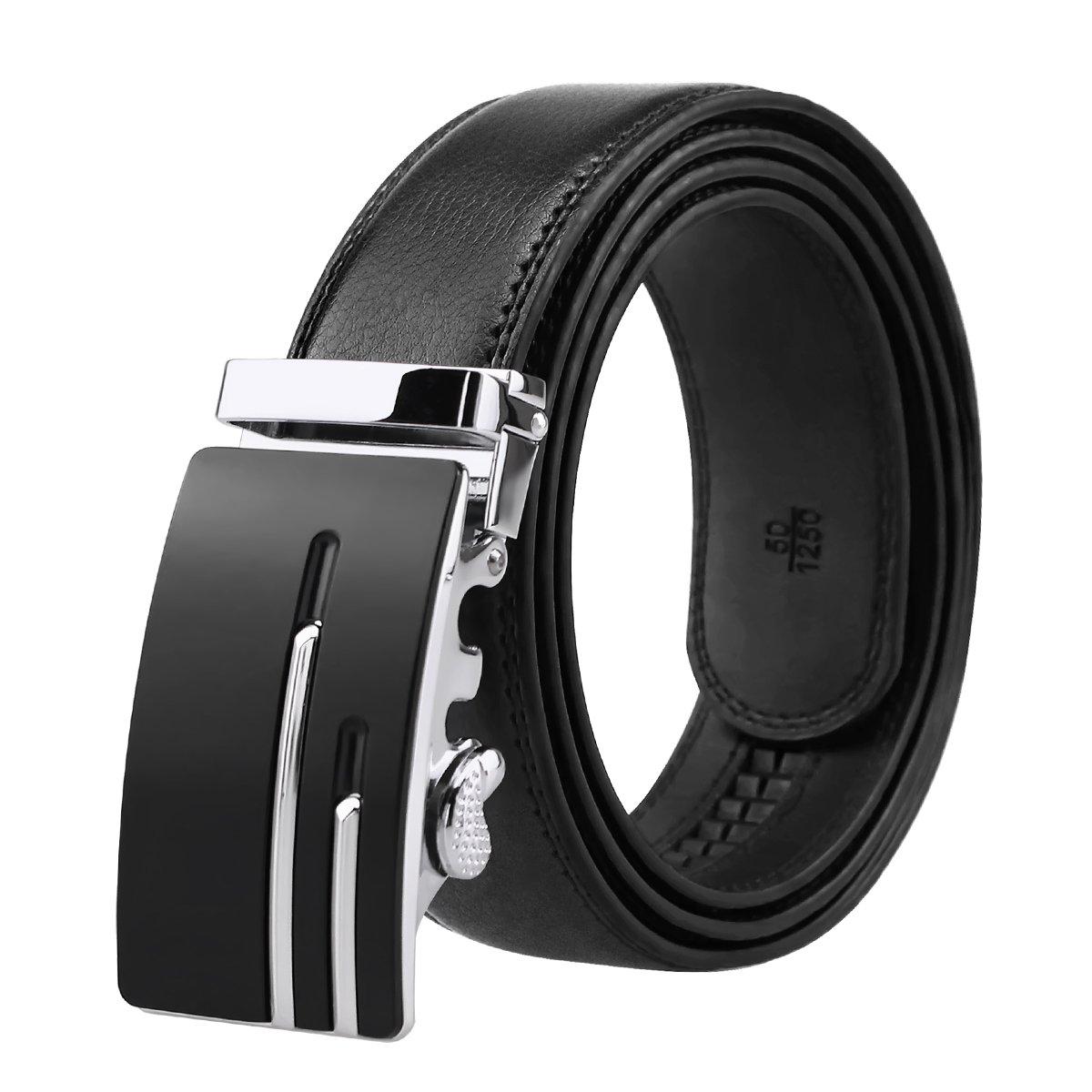 Men's Genuine Leather Ratchet Belt Black Dress Belt with Automatic Buckle 1 3/8 Wide Gift Box