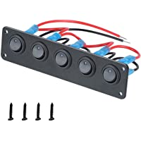 VonSom 12V 5 Gang Rocker Switch Panel Waterproof 3 Pin On/Off Toggle LED Switches for RV Marine Car Vehicle Trailer…