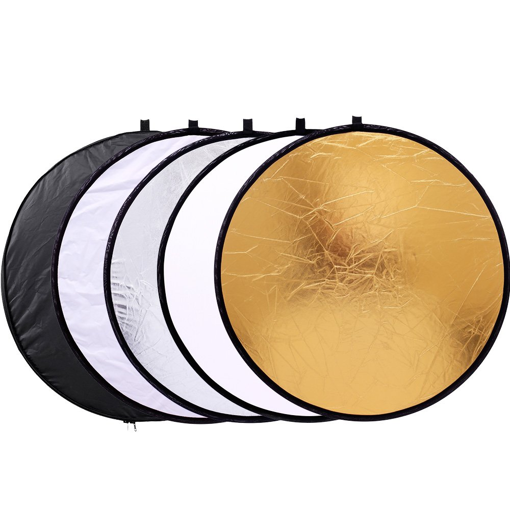 43''/110cm 5-in-1 Light Reflector for Photography Collapsible Multi-Disc Round with Bag - Translucent, Gold, Silver, Black and White