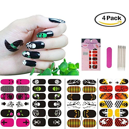 Halloween Nail Art,Halloween Nail Stickers and Decals for Women Girls Kids,Holiday Nail Art Supplies, VIWIEU 2D Adhesive Nail Art Fun and Scary, 4 Sheets Value Pack -