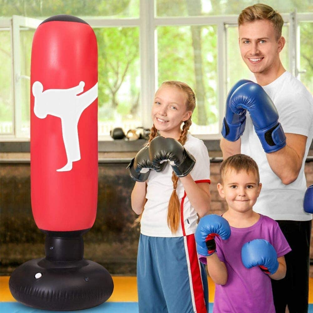 5.2ft Fitness Punch Bags Freestanding Heavy Boxing Bags MMA Kick Training bag LEOHOME Inflatable Punching Bag for Kids