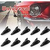 Alpha Racing 10pcs/Set Diffuser Shark Fin Kit Compatible with Spoiler Roof Wing Air Vortex Generator Black