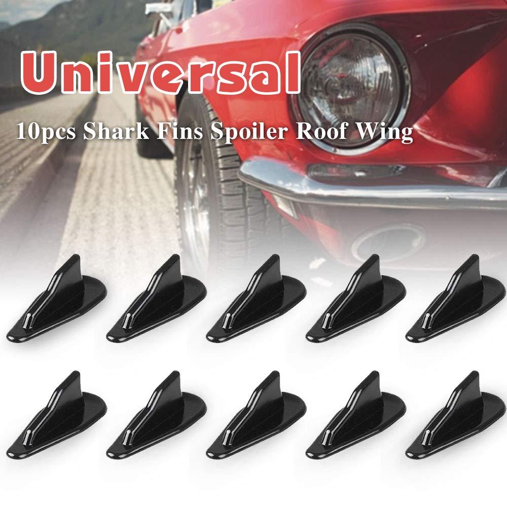 RASNONE 10 pcs Universal Spoiler Roof Wing Air Vortex Generator Diffuser Shark Fin Black