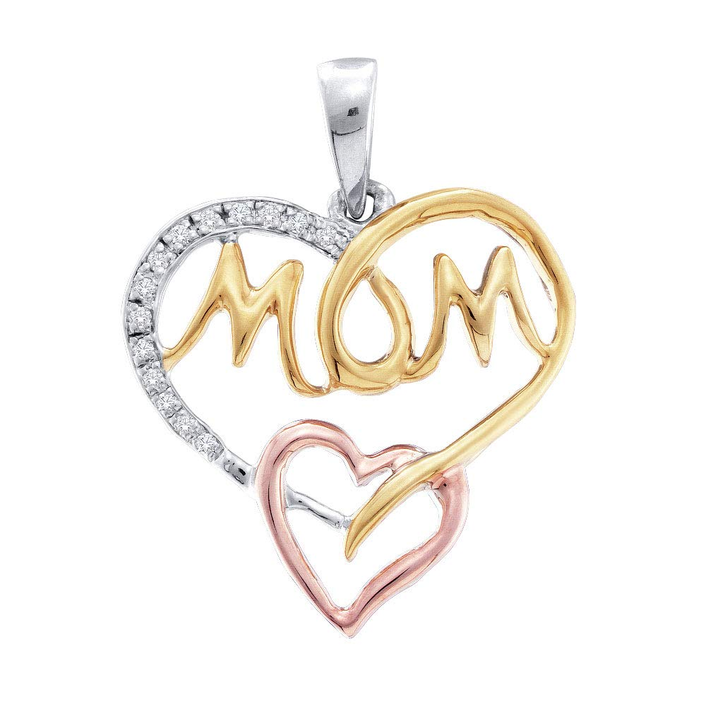 .07cttw I2-I3 Mia Diamonds Sterling Silver Womens Round Diamond Tri-tone Mom Mother Heart Pendant